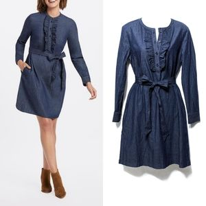 NWT [DRAPER JAMES] Chambray Ruffle Shift Dress